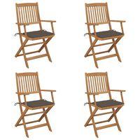 vidaXL Folding Garden Chairs 4 pcs with Cushions Solid Acacia Wood (313320+47595)