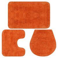 vidaXL Set Tappetini per Bagno 3 pz in Tessuto Arancione