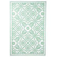 Esschert Design Tappeto da Esterno 182x122 cm a Tessere Verde e Bianco