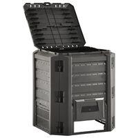 vidaXL Compostiera da Giardino Nera 380 L