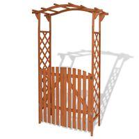 vidaXL Arco da Giardino con Cancello in Legno Massello 120x60x205 cm