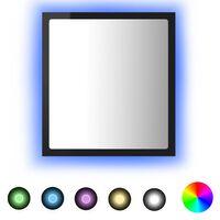 vidaXL Specchio da Bagno LED Nero Lucido 40x8,5x37 cm in Truciolato