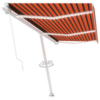 vidaXL Tenda da Sole Retrattile Manuale LED 600x300 cm Arancio Marrone