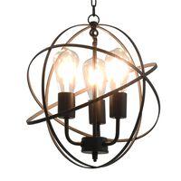 vidaXL Lampada Sferica a Sospensione Nera 3 Lampadine E27