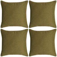 vidaXL Set 4 Federe per Cuscini in Simil-Lino Verde 50x50 cm