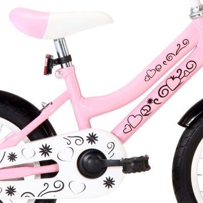 vidaXL Bici per Bambini con Trasportino Frontale 14'' Bianco e Rosa