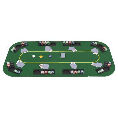 vidaXL Piano da Poker 8 Giocatori Pieghevole in 4 Rettangolare Verde