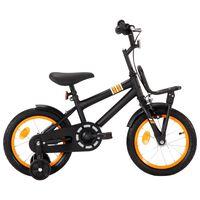 vidaXL Bici per Bambini con Trasportino Frontale 14'' Nero e Arancione