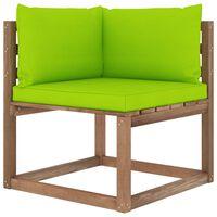 vidaXL Divano Angolare da Giardino su Pallet e Cuscini Verde Brillante