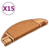 vidaXL Tappetini Autoadesivi per Scale 15 pz Beige 65x21x4 cm