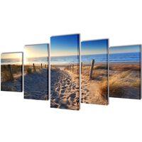5 pz Set Stampa su Tela da Muro Spiaggia di Sabbia 100 x 50 cm