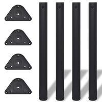Set 4 gambe nere tavolo regolabili con staffe triangolari 710 mm