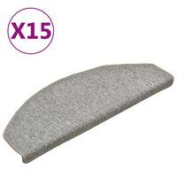 vidaXL Tappetini per Scale 15 pz Grigio Chiaro 65x24x4 cm