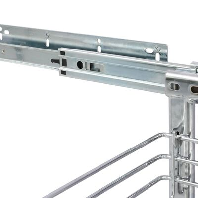 vidaXL Cestello Metallico Estraibile a 3 Livelli Argento 47x25x56 cm