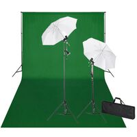 vidaXL Set Studio Fotografico Fondale Verde 600x300 cm e Luci