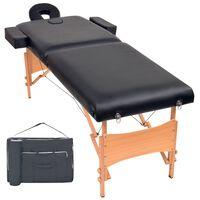 vidaXL Lettino Massaggio Pieghevole a 2 Zone Imbottitura 10 cm Nero