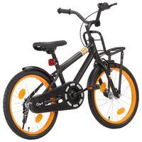 vidaXL Bici per Bambini con Trasportino Frontale 18'' Nero e Arancione