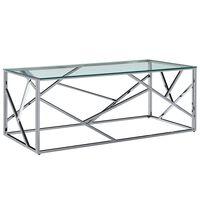 vidaXL Tavolino Trasparente 120x60x40cm Vetro Temperato e Acciaio Inox