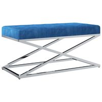 vidaXL Panca 97 cm Blu in Velluto e Acciaio Inossidabile
