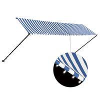 vidaXL Tenda da Sole Retrattile con LED 400x150 cm Blu e Bianco