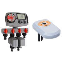 vidaXL Timer Automatico Irrigazione a 4 Vie e Sensore di Umidità 3V