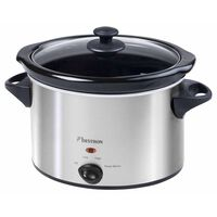 Bestron Pentola Slow Cooker ASC350 180W in Acciaio Inossidabile 3,5 L