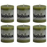 Bolsius Candele Rustiche Moccoli 6 pz 80x68 mm Verde Oliva