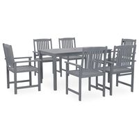 vidaXL 7 Piece Outdoor Dining Set Grey Solid Acacia Wood (311849+312030+311875)
