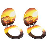 vidaXL Copriwater 2 pz con Chiusura Ammortizzata in MDF Design Savana
