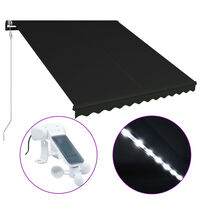 vidaXL Tenda da Sole con Sensore Vento e LED 300x250 cm Antracite