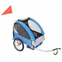 vidaXL Rimorchio da Bici per Bambini Grigio e Nero 30 kg