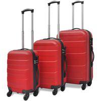 vidaXL Set Trolley 3 pz Rosso