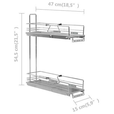vidaXL Cestello Metallico Estraibile a 2 Livelli Argento 47x15x54,5 cm