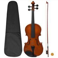 vidaXL Set Completo Violino con Arco e Mentoniera Legno Scuro 4/4