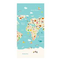 Good Morning Telo da Spiaggia WORLDMAP 75x150 cm Azzurro