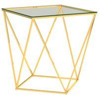 vidaXL Tavolino da Caffè Oro e Trasparente 50x50x55 cm in Acciaio Inox