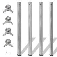 Set 4 gambe placcate in nickel per tavolo regolabili in altezza 870 mm