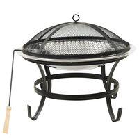 vidaXL Braciere e Barbecue 2in1 e Attizzatoio 56x56x49 cm Acciaio Inox