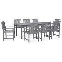 vidaXL 9 Piece Outdoor Dining Set Grey Solid Acacia Wood (311850+2x311875)