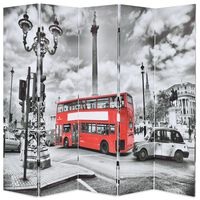 vidaXL Paravento Pieghevole 200x170 cm Stampa Bus Londra Bianco e Nero