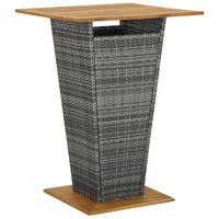 vidaXL Tavolino da Tè Grigio 80x80x110 cm Polyrattan e Massello Acacia