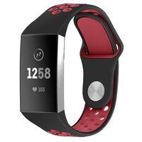 Braccialetto Fitbit Charge 3/4 In Silicone Nero / Rosso