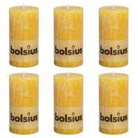 Bolsius Candele Rustiche Moccoli 6 pz 130x68 mm Giallo Ocra