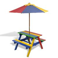 vidaXL Tavolo e Panchine per Bambini con Parasole Legno Multicolore