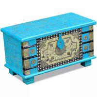 vidaXL Baule Blu Legno di Mango 80x40x45 cm