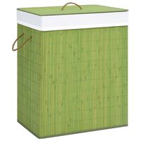 vidaXL Cesto Portabiancheria in Bambù Verde 100 L