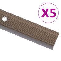 vidaXL Profili a L per Gradini 5 pz in Alluminio 100 cm Marrone