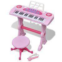vidaXL Gioco Bambini Tastiera con Sgabello/Microfono 37 Tasti Rosa
