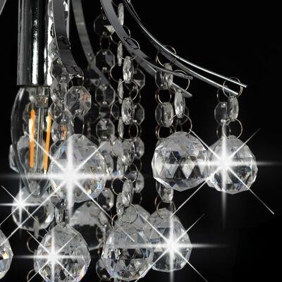 vidaXL Lampadario con Perle di Cristallo Argento Rotondo E14