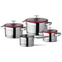 CUISINOX Set di Pentole da Cucina 4 pz Argento e Rosso